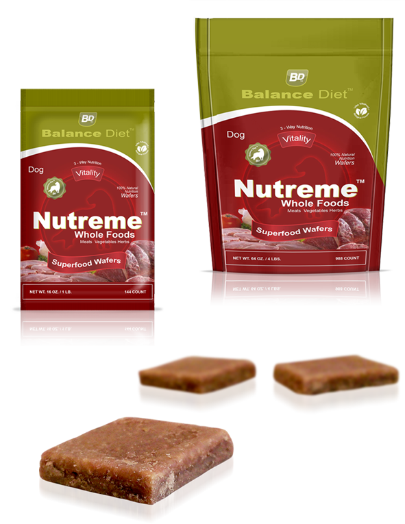 Balance Diet Prmium Dog food Nutreme whole foods superfoods wafers featuring all natural and healthy holistic organic ingradients