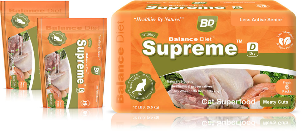 Balance Diet premium cat food Supreme Cat superfood complete nutrition for all life stages its tasty food for your cat no matter cat is old or young